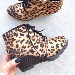 Brand New Leopard Ankle Boots Booties Wedge Heels